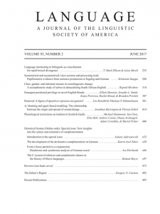 Language, Historical Syntax, special issue